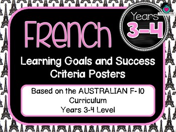 GRADE 3-4  FRENCH  – Aus. Curric. Learning Goals & Success Criteria Posters.