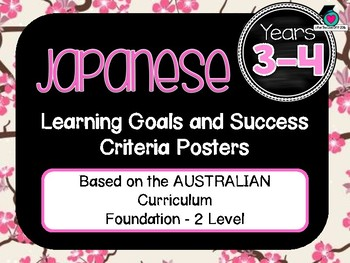 GRADE 3-4  JAPANESE  – Aus. Curric. Learning Goals & Success Criteria Posters.