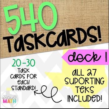 GRADE 3 Math STAAR Test Prep Task Cards- ALL SUPPORTING STANDARDS BUNDLE!