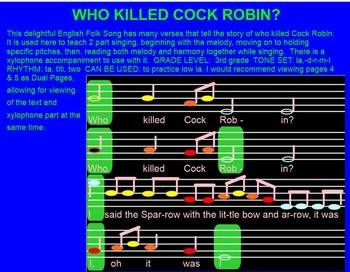WHO KILLED COCK ROBIN- 2 part singing and xylophone-half note-low la-Smartboard