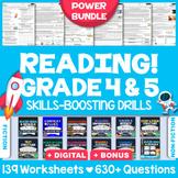 GRADE 4 & 5 READING COMPREHENSION WORKSHEETS/TEST PREP   Complete Power Bundle