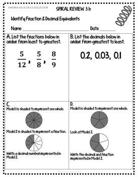 GRADE 4 BUNDLE FRACTIONS and DECIMALS VIRGINIA SOL 4.2 4.3