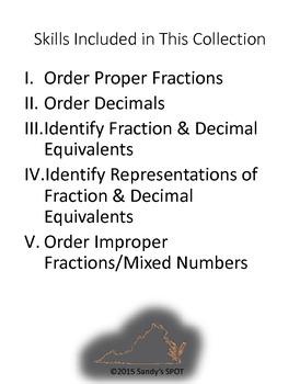 GRADE 4 FRACTION and DECIMAL EQUIVALENTS QUICK CHECKS VIRGINIA SOL