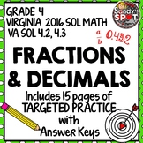 GRADE 4 FRACTION and DECIMAL EQUIVALENTS TARGETED PRACTICE VIRGINIA 2016 SOL