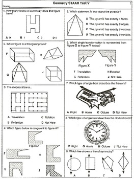 Grade 4 Geometry Category 3 Assessments: 12-STAAR Tests  (printable test)