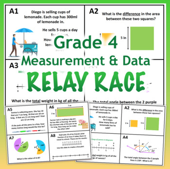 GRADE 4 MD Relay Race - Math Measurement and Data Activity