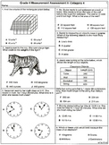 Grade 4 Measurement Assessements: Category 4  6 Assessements (printable)