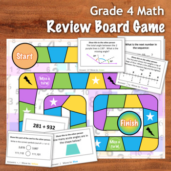 GRADE 4 Math Board Game - Review of Key CCSS points - 48 Cards