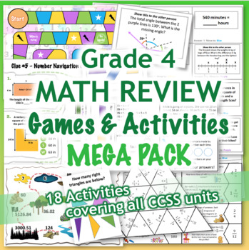 GRADE 4 Math Review Games & Activities MEGA PACK / Bundle CCSS Aligned