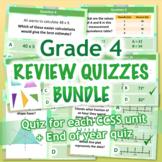 GRADE 4 Math Review Quiz Bundle / Mega Pack - 6 CCSS Align
