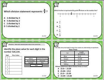 GRADE 4 VIRGINIA SOL MATH TASK CARDS SET 4 TEST PREP  VIRGINIA SOL MATH