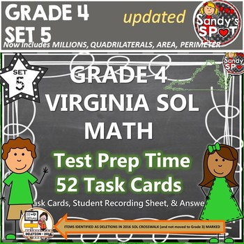 GRADE 4 VIRGINIA SOL MATH TASK CARDS SET 5 TEST PREP  VIRG