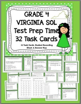 GRADE 4 VIRGINIA SOL MATH Test Prep TASK CARDS