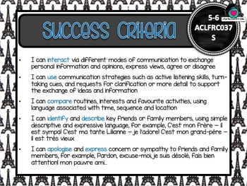 GRADE 5-6 Australian FRENCH Editable Learning Goals & Success Criteria Posters