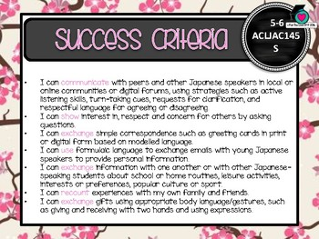 GRADE 5-6 JAPANESE  – Aus. Curric. Learning Goals & Success Criteria Posters.