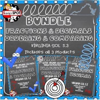 GRADE 5 BUNDLE FRACTIONS and DECIMALS VIRGINIA SOL 5.2