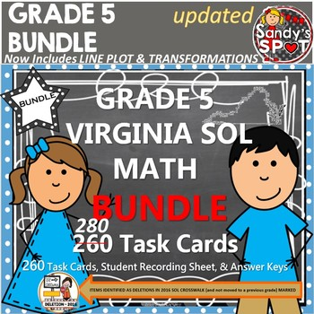 GRADE 5 BUNDLE REVISED VIRGINIA SOL MATH TASK CARDS TEST PREP