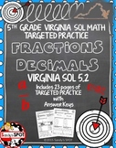 GRADE 5 FRACTION and DECIMAL EQUIVALENTS TARGETED PRACTICE VIRGINIA SOL
