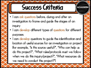 GRADE 5 HASS – Aus curric Learning INTENTIONS & Success Criteria Posters.