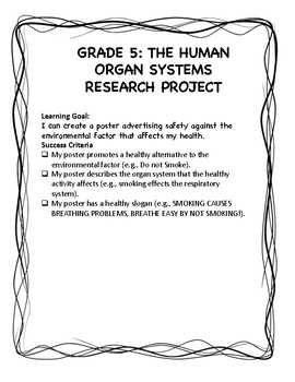 GRADE 5 HUMAN ORGAN SYSTEMS RESEARCH PROJECT