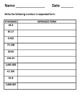 DECIMALS AND EXPANDED FORM: GRADE 5 MATH COMMON CORE