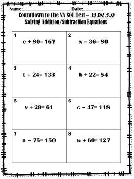 GRADE 5 MATH SOL 5.18 - COUNTDOWN TO THE SOL