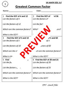 GRADE 5 MATH VIRGINIA SOL QUICK CHECKS: SOL 5.6 GCF