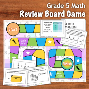 GRADE 5 Math Board Game - Review of Key CCSS points - 48 Cards