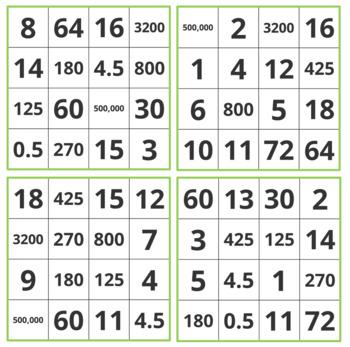 GRADE 5 Math MD Bingo - Measurement and Data