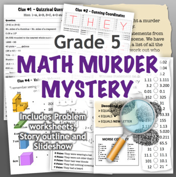 GRADE 5 Math Murder Mystery Activity - Fun Review of all CCSS Topics