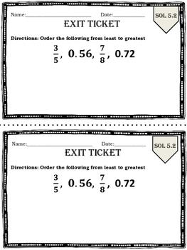 GRADE 5 Math SOL 5.2 Exit Tickets