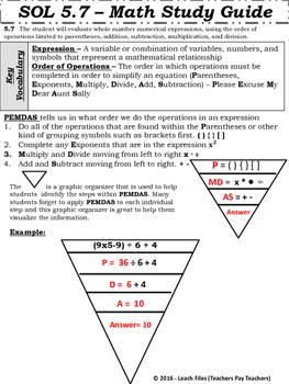 GRADE 5 Math SOL 5.7 Study Guide