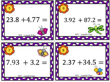 GRADE 5 Math VA SOL 5.5 Adding w/ Decimals Task Cards {Spring Edition}