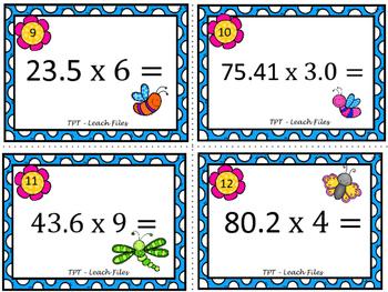 GRADE 5 Math VA SOL 5.5 Multiplying w/ Decimals Task Cards {Spring Edition}