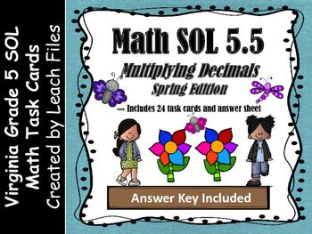 GRADE 5 Math VA SOL 5.5 Multiplying w/ Decimals Task Cards
