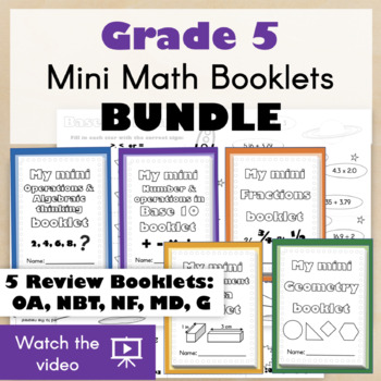 GRADE 5 Mini Math Booklets BUNDLE - Fold and create for a fun CCSS Review