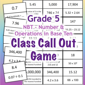 GRADE 5 NBT Class Call Out Game - Math Number and Operations in Base Ten Review