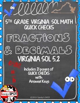 GRADE 5 ORDER FRACTIONS and DECIMALS  QUICK CHECKS VIRGINIA SOL
