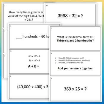GRADE 5 Treasure Hunt NBT Math - Number & Operations in Base 10 Review Activity