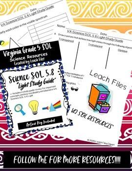 GRADE 5 VIRGINIA SCIENCE SOL 5.3 LIGHT STUDY GUIDE