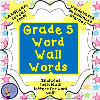GRADE 5 WORD WALL WORDS WITH HEADERS - STAR THEME