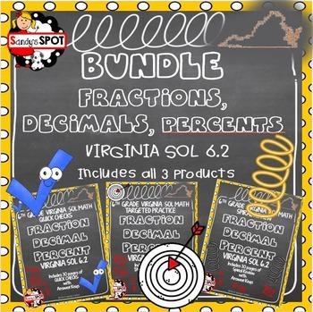 GRADE 6 BUNDLE FRACTIONS DECIMALS PERCENTS VIRGINIA SOL 6.2