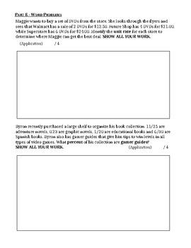 GRADE 6 FRACTIONS, DECIMAL, PERCENT, RATIO UNIT TEST, ONTARIO CURRICULUM