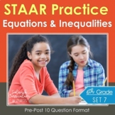 6th Grade Math STAAR Test Practice Equations & Inequalities TEKS Aligned