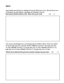 GRADE 6 NUMERACY UNIT TEST, ONTARIO CURRICULUM, GRADE 6 MATH