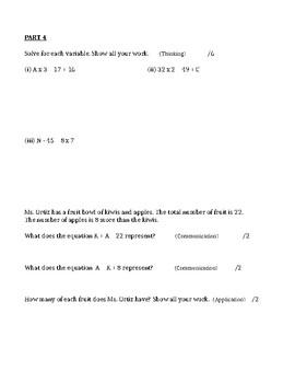 GRADE 6 ALGEBRA AND PATTERNING UNIT TEST 1, ONTARIO CURRICULUM, GRADE 6 MATH