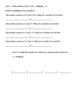 GRADE 6 PLACE VALUE, ROUNDING, DECIMAL UNIT TEST (1), ONTARIO CURRICULUM