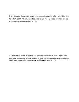 GRADE 7 8 FRACTIONS UNIT TEST, ONTARIO CURRICULUM, GRADE 7 8 MATH