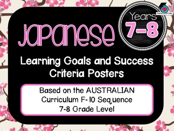 GRADE 7-8 JAPANESE  – Aus. Curric. Learning Goals & Success Criteria Posters.