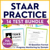 7th Grade TEKS Math STAAR BUNDLE {14 Assessments} Test Pre